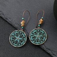 Retro Anncient bronze Flower Butterfly Earrings Dangle Hollow Charm ear rings for women animal Fashion jewelry will and sandy