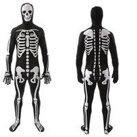 Хэллоуин кузов скелет костюм косплей для взрослых мужчин Hallowmas Masquerade One Piece Bodysuit Фестиваль вечеринка Полная маска для лица GWD9572