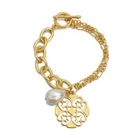 Amorcome Gold Color Retro Chinese Style Chain Bracelet for Women Fashion Hollow Round Charm Pearl Metal Link Bangles Jewelry Couple Gifts