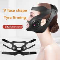 EMS Electric V-Shaped Thin Face Slimming Cheek Mask Massager Facial Lifting Machine Face V-Line Lift Up Bandage Therapy Device