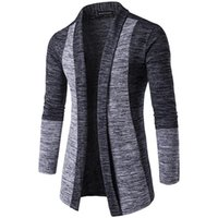 Men's Sweaters Sweater Cardigan Stitching Contrast Color Long-sleeved Slim-fit Warm Jacket