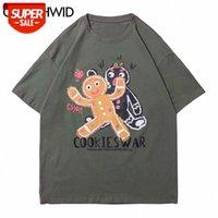 المحملات قميص الشارع الشهير الكرتون الكوكيز الحرب طباعة بلايز الهيب هوب عارضة القطن فضفاض القمصان المتناثرة قصيرة الأكمام قمم # W0M