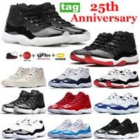 Yeni 11 25. Yıldönümü Basketbol Ayakkabıları 11s Düşük Beyaz Bred Concord 45 Uzay Reçel Koşu Sneakers Uzay Jam Mens Womens Eğitmenler