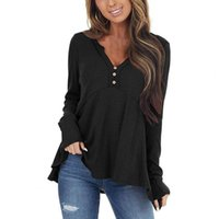 Women's Blouses & Shirts Womens Casual Soft Long Sleeves V-Neck Top Spring Autumn Comfy Sexy Ruffles Simple Solid T-Shirt Females Travel Voc