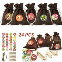 Christmas Decorations Bundle Star Digital Sticker Jute Gift Bag Set Candy 24pcs For Home Santa Clause Merry Party Decor