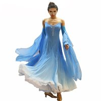 Stage Wear Standard Skirt Competition Dress Costumes Performing Customize Adult Children Blue Sparkly Rhinestone Ballroom Dance