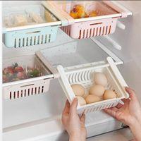 신축성있는 풀 아웃 냉장고 저장 케이스 주최자 냉장고 랙 선반 선반 트레이 냉장고 바구니 신선한 스페이서 레이어