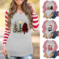 Women Merry Christmas Tree Car Plaid Print Autumn Loose Tee Raglan Top Casual Long Sleeve T-Shirt Tunic Sweatshirt Tops Women's Hoodies & Sw