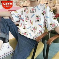 Black-skinned boys clothes pig year piglet embroidery short-sleeved t-shirt female cute and Buyi student party #4K2p