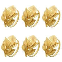 Napkin Rings 12pcs Gold Alloy Leaf Chairs Buckles Wedding Event Decoration Crafts Party Supplies Table El Bar
