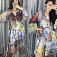 Avustralya İlkbahar / Yaz Baskılı V Yaka Fener Uzun Kollu Elbise (Serbest Kayış Petticoat)