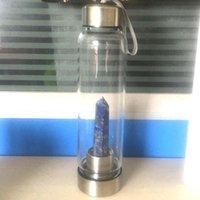 Doğal Kuvars Gemstone Cam Su Şişesi Doğrudan İçme Kupası Cam Kristal Dikilitaş Değnek Halat Ile Şifa Değnek Şişe Yeni 201106 335 R2