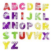 Bubble Keychain Party Favor Favor Favor Silicone Alphabet Push KeyRing avec boucle Fidget Fidget Doigt Anxiété Relever Kids Gyq
