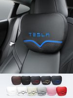For Tesla headrest Luxury Pillows Car Travel Neck Rest Seat Cushion Support Napa leather accessories