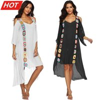 Long Sleeve Summer Beachwear 2021 Kaftan Tunic Beach Dress Women Bikini Cover-ups Swimsuit Cover Up Boho Plus Size Party Dresses Women's Swi