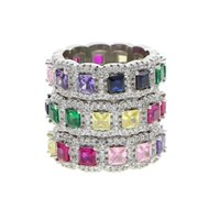 Cluster Rings Silver Color Bling Wide Band With Rainbow Cz Wedding For Women Engagement Finger Party Colorful Jewelry