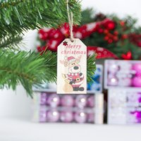 Christmas Tree Decoration Wooden Pendant Creative Snowman Elk Cartoon Pendants Tag Ornaments DH8474