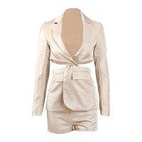 Double Sets Tie-Up Tops Short Women Blazer Cross Slit Mini Rok Long Mouwen Suits Sum Rok Sets a-line Pak Rok