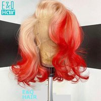 Lace Wigs Ombre Red Honey Blonde Colored Human Hair For Women Short Bob Part Transparent Brazilian Pre Plucked 180%