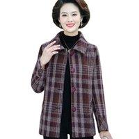 Women's Wool & Blends 2021 Coat Winter Autumn Fashion Elegant Mother Plaid Slim Woolen Outerwear Female Spring 5XL