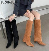 Boots SUOJIALUN 2021 Winter Brand Women Long High Quality Pointed Slip-On Knee-High Thin Heel Knight