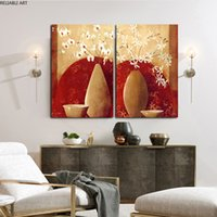 Modern Poster And Print Oil Painting Flower Vase Red And Brown Art Canvas Paintings For Living Room Wall Decorations Home Decor