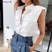 Mnealways18 Casual Sleeveless White Shirt Women Summer Office Blouse Ladies Shoulder Padded Top Button Shirt Stand Collar 210320