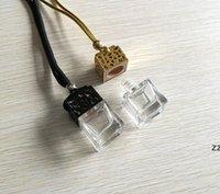 Cube Hollow Car Parfüm Flasche Rückhalte-Ornament Hängende Lufterfrischer für ätherische Öle Diffusor Duft Leere Glasflasche HWD8246