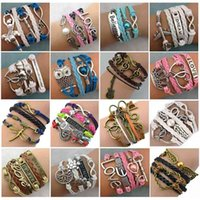 Commercio all'ingrosso 30 pz / lotti miscela stile infinità amore fascino braccialetti antichi multistrato in pelle bracciali per le donne gioielli 210323