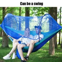 Tents And Shelters Outdoor Mosquito Net Parachute Hammock Portable Camping Hanging Sleeping Bed High Strength Swing 290x140cm