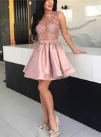 Sexy A-Line Pink See Through Appliques Homecoming Dresses Short Mini Satin Sleeveless Cocktail Dress Back Zipper Up