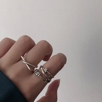 Hearts Chrome Korean 925 Silver Geometric Cross Opening Ring Female Ins Fashion Personalized Food Trend
