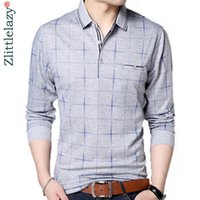2019 marca de moda polo camisa homens xadrez aptidão bolso camisa pol masculino streetwear homens polos camisetas poloshirt t200528
