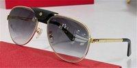 Lunettes de soleil design de mode 01138 Pilote Feuille centrale de cadre en métal avec boucle en cuir Simple et POP Style de qualité supérieure lunettes de protection UV400