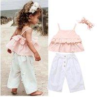 Toddler Sets Kid Baby Girl Clothes Ruffle Sling Tops T-shirt Tops+Long Pant Headband Outfits Set Kids Summer