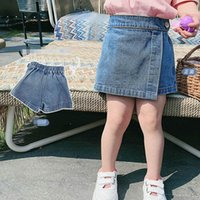 Girls Shorts Children Pantskirt Summer Kids Clothes Wear Denim Skirts Jeans Pants Fashion Dress 2-6Y B5196