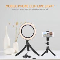 Dimmable LED Selfie Ring Light Makeup Lamp Cellphone For Live Stream Phone Clip Holder Adjustable Desk Panel Lights