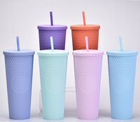 2021 Starbucks Mugs Double Blue Durian Laser Straw Cup 710ML Mermaid Plastic Cold Water Coffee Cups Gift Reusable Clear Drinking ZWL687
