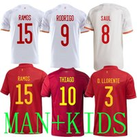 2020 2021 إسبانيا لكرة القدم جيرسي بعيدا الرجال الاطفال 20 21 Camiseta de fútbol سيرجيو A.Iniesta Paco Alcacer 2021 راموس تياجو كأس الكأس الأوروبية القمصان
