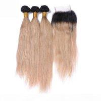 브라질 스트레이트 꿀 금발 옴 브레 인간의 머리카락이 짜는 레이스 폐쇄 # 1B 27 Ombre 2Tone 3Bundles 4x4 프론트 레이스 폐쇄 4pcs 로트