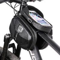Велосипедная фронтальная рамка Сумка для хранения велосипедов для хранения велосипедов Водонепроницаемый с максимальным экраном телефона 6,5 дюйма CB01