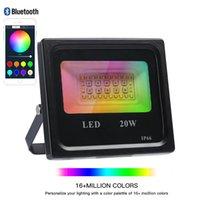 Smart RGB Floodlights Aplicación de iluminación LED regulable al aire libre y color de control Bluetooth Cambiando las luces de inundación IP66 impermeable 3000-6500k 16 millones de colores Etapa