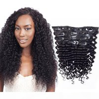 Malesian 140g Un Processo profondo onda profonda 10-28inch Prolunga per capelli umani 7pcs Set clip a onda profonda nelle estensioni dei capelli Colore naturale