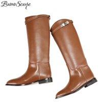 BuonoScarpe Woman Motorcycle Booties Designer Genuine Leather Long Boots Belt Strap Metal Shark Lock Flat Heel Knee High 211018