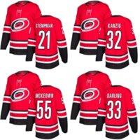 Hombre para mujer niños Carolina huracanes 21 Lee Stempniak 32 Keegan Kanzig 33 Scott Darling 55 McKeown Red Hock Hockey Jersey aceptable Custom