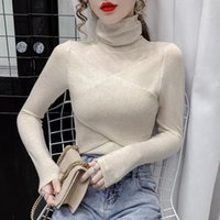 Women's Sweaters Women Winter Fashion Pure Color Knitting Fabric Pullover Slim Bottoming Shirt Sweater Top Korean Female's Clothing