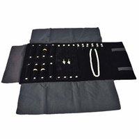 Black multifunción Pendientes Collar Anillo Almacenamiento Bolsa de rollo Joyería Viaje Portátil Retenaje Rollo Bolsas Paquete de exposición