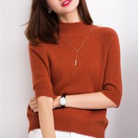 Women's Sweaters BARESKIY Cashmere Sweater Female O-neck Short-sleeved Stretch Slim Solid Color Half-sleeve Coat
