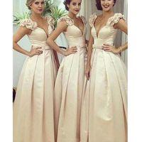 Elegant Women's Off Shoulder Satin deep V-neck Bridesmaid Dresses A line Prom Gowns for Wedding Party
