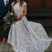 Full Lace ruffles Sheath Boho Wedding Dresses 2021 Country Scoop Neck Cap Sleeves Sexy Backless Wedding Bridal Gowns